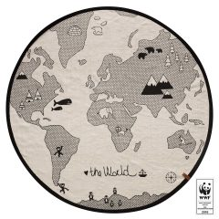 OYOY the world rug, white & black, 100% cotton