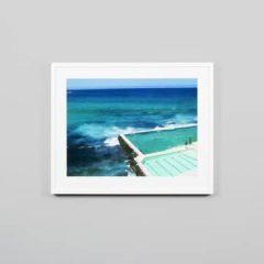 Middle of Nowhere print, Bondi baths, white frame, 79x64cm