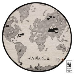 OYOY the world rug, white & black, 100% cotton