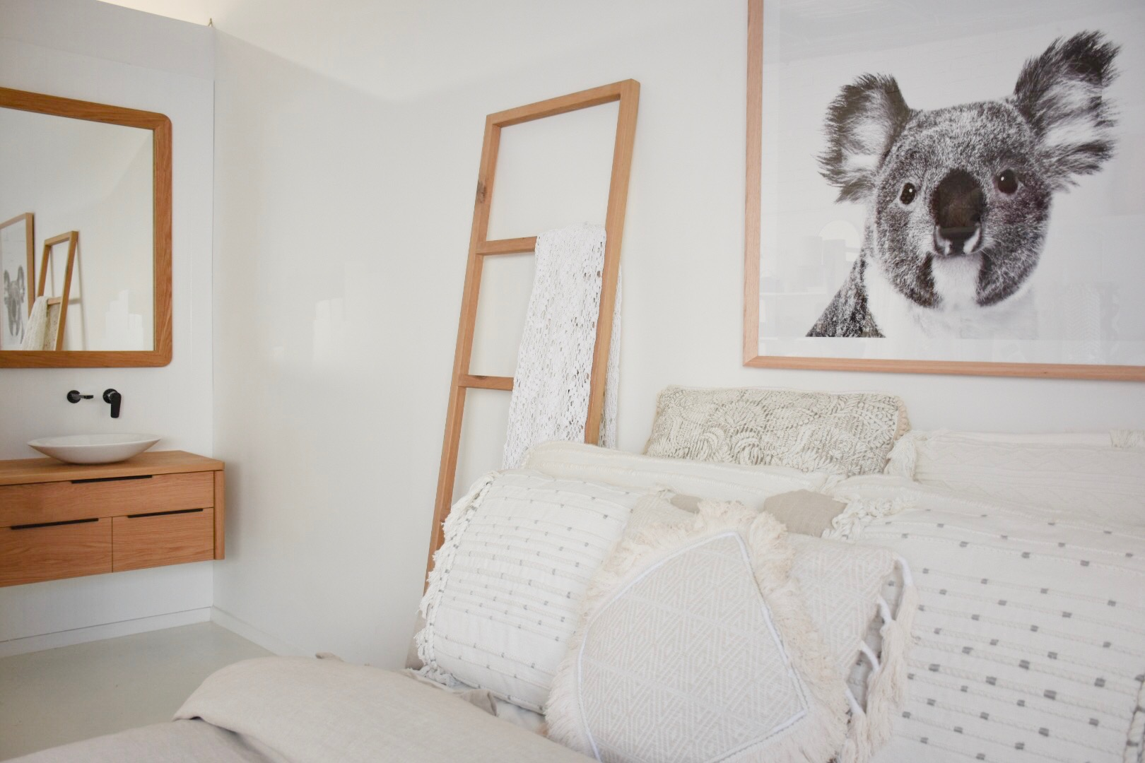 Australian inspired bedroom - timber bed by RAW Sunshine Coast
